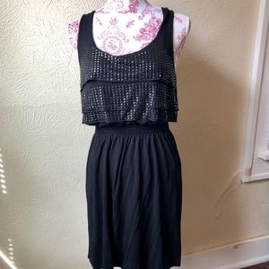 Rock&Roll Cowgirl Black Embellished Tiered Dress M